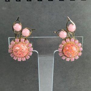 Vintage pink orange flower earrings
